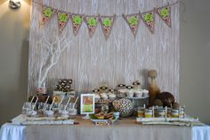 This Faux-Bois designed dessert table was sent to us by Jennifer at Honeycomb Events. She created this table for a second time mom who wanted the gender of the baby to be a surprise. Jennifer kept the palette neutral and designed a chic owl illustration for the custom printables to embrace the fall season. The …