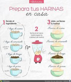 PREPARA TUS HARINAS EN CASA Healthy Cooking, Healthy Tips, Cooking Recipes, Healthy Recipes, Healthy Meals, Vegan Vegetarian, Vegetarian Recipes, Vegan Food, Comida Diy
