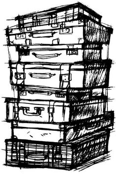 Tim Holtz Cling Rubber Stamp - Suitcases