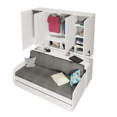 Gautreau Compact Twin Murphy Bed Perfect for craft room. Murphy bed has a desk when folded and also converts to a couch then a bed! Perfect for extra sleeping for guest! Murphy Bed Couch, Murphy Bed Plans, Sofa Bed, Cama Murphy Ikea, One Room Flat, Murphy-bett Ikea, Hideaway Bed, Modern Murphy Beds, Bed Wall