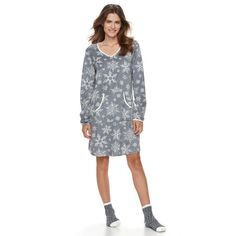 Women's Croft & Barrow® Pajamas: Velour Sleep Shirt & Socks PJ Set, Size: Medium, Med Grey