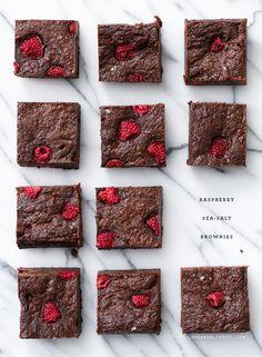 Raspberry Sea Salt Brownies by loveandoliveoil #Brownies #Raspberry #Sea_Salt