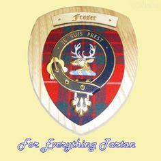 Clan Fraser Tartan Woodcarver Wooden Wall Plaque Fraser Crest 7 x 8