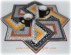 Card Tricks Table Topper ... with tutorial ... from http://www.roolen.blogspot.sk/... really like the color combo.....