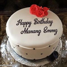The name [sunny] is generated on Simple Elegant Birthday Cake With Name image. D… - birthday Cake Ideen Happy Birthday Cakes For Women, Birthday Cake For Women Elegant, Birthday Wishes For Her, Elegant Birthday Cakes, Cool Birthday Cakes, Elegant Cakes, Birthday Cupcakes, Birthday Cake For Brother, Birthday Msgs