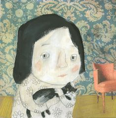 This illustration pulls at the heartstrings - the girl looks so sad though the cat seems to be a comfort to her.(Manon Gauthier)