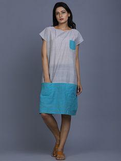 Grey Blue Mangalgiri Cotton Dress