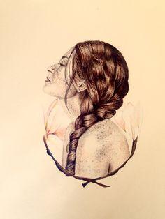 Self portrait: Lili Piek Watercolour and pen