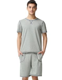 Qianxiu Men s Summer Cotton Knit Short Sleeve Pajama Soft Cozy T Shirt  Sleepwear (S 00d836cd1