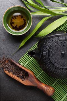 Asian tea cup and teapot
