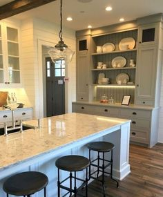 46 Farmhouse Gray Kitchen Cabinet Design Ideas