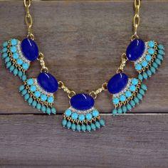 Primrose Cobalt Fan Fringe Necklace Set   Amazing Lace