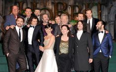 (Back row L-R) Stephen Fry, Luke Evans, Andy Serkis, Peter Jackson, Martin Freeman,  Sir Ian McKellen, Richard Armitage, Benedict Cumberbatch (front row L-R) Lee Pace, Orlando Bloom,  Evangeline Lily, Philippa Boyens, Ryan Gage and Aidan Turner attend the World Premiere of 'The Hobbit: The Battle OF The Five Armies' at Odeon Leicester Square