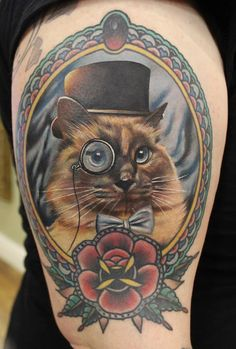 Cameo Style Pet Portrait Tattoo - But one of Pickle and one of Penny
