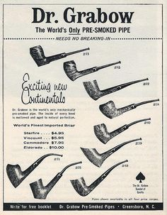 Vintage Tobacciana Advertising - Dr. Grabow's Pre-Smoked Tobacco Pipes, From Look Magazine, December 3, 1963.