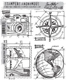 Would be fabulous for vacay pages. *Tim Holtz Cling Rubber Stamps 2013 TRAVEL BLUEPRINT CMS148