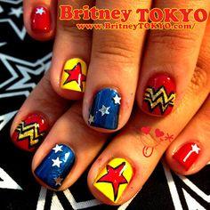 Wonder Woman nail art byBritney TOKYO☆  ✌ ✿ ✡ ✟ ☺ ✞ TOKYO meets HOLLYWOOD ✞ ☺ ✟ ✡ ✿✌
