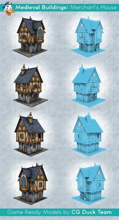Medieval Buildings: Merchant's House. Game ready low-poly 3d model