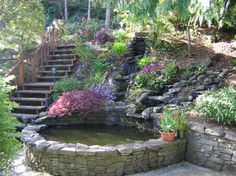 I would make the stairs out of brick or stone and add a waterfall to the pond.