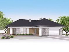 Projekt domu Aksamit 7 My House Plans, Bungalow House Design, Facade House, Modern Exterior, Planer, Shed, New Homes, 1, Layout