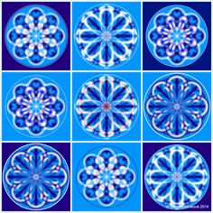 Mandala č.12 - Čistota Obraz složený s devíti mandal. Podporuje jasné a logické myšlení. Je vhodná k umístění nad pracovní stůl tak, abyste ji při práci mohlí vnímat alespoň periferním viděním. počítačová grafika, rozměr 30x30 cm, laminováno jako ochrana proti UV záření dodáváno bez vodoznaku