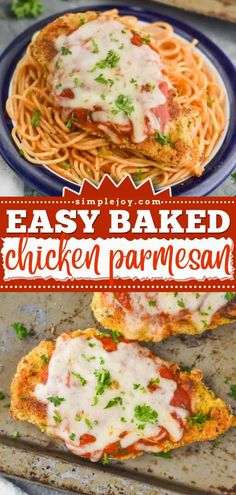The perfect comfort food on weeknights! This chicken dinner recipe is a winner. Delicious and crispy without the calories, you won't miss the frying in this easy Baked Chicken Parmesan! Save this pin! Fried Chicken Parmesan, Pan Fried Chicken, Easy Baked Chicken, Easy Dinner Recipes, Great Recipes, Recipe Ideas, Dinner Ideas, Easy Weeknight Dinners, Easy Meals