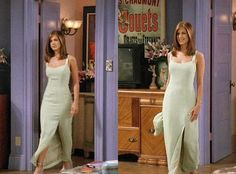 Rachel Green- the one with the green dress Rachel Green Outfits, Friends Rachel Outfits, Estilo Rachel Green, Rachel Green Style, Rachel Green Friends, Friend Outfits, Rachel Green Fashion, Mint Green Outfits, Rachel Green Hair