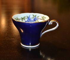 Aynsley corset style cobalt bluebird tea cup. by CRoseVintage