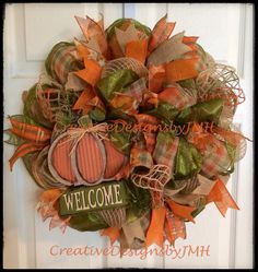Fall Deco Mesh Wreath by CreativeDesignsJMH on Etsy https://www.etsy.com/listing/199558890/fall-deco-mesh-wreath