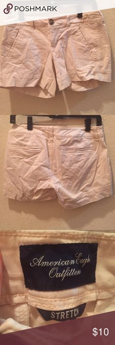 Pink/cream shorts! Stretch size 2. American shorts with pockets! Super comfy American Eagle Outfitters Shorts Jean Shorts