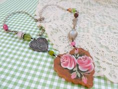 ROSE assemblage necklace pink heart religious by lilyofthevally