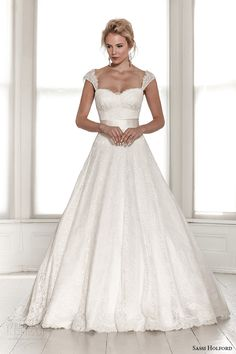 sassi holford wedding dress 2015 bridal signature collection sweetheart neckline tapered lace strap with sash a line dress style saskia front
