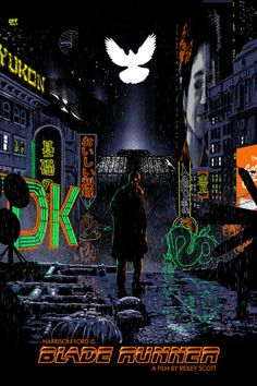 """Blade Runner by Chris Koehler / Facebook / Twitter / Tumblr / Instagram 24"""" x 36"""" screen print with fluorescent inks, edition of 50. Available HERE. Part of the Blacklight art show at Hero Complex Gallery."""
