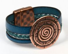 Summer in Greece Braided Flat Leather Bracelet - see all project components @ AntelopeBeads.com