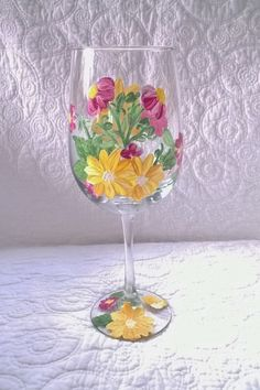 Yellow and Pink flowers hand painted wine glass by TheyAreLikeSunShine on Etsy