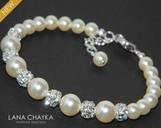 Cream Pearl and Crystal Bridal Bracelet Wedding Day Jewelry