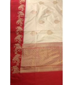 Off white red handloom Banarasi Pure Silk Opera Weaved Saree