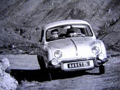 1956 Tour de Corse Rally: Belgian girl Gilberte Thirion in a Renault Dauphine won