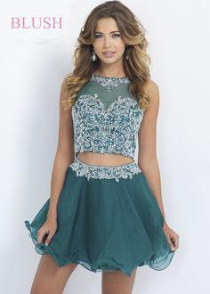 Blush Prom 10073 Sparkly AB Jeweled 2 Piece Dress