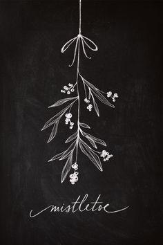 Chalkboard Art - Mistletoe Art Print