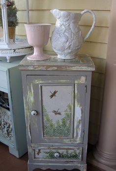 Antique Jelly Cupboard Rustic Mosaic Dragonfly motif Shabby Chic , Primitive Cabinet