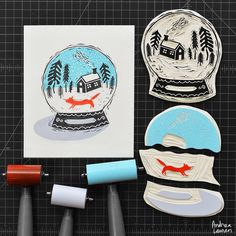 """3,512 Likes, 80 Comments - Andrea Lauren (@inkprintrepeat) on Instagram: """"Having fun carving and printing this winter snow globe in four colors"""""""