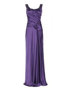Купить со скидкой Alberta Ferretti фиолетовое платье-макси из шелка с драпировками и бантом (40239) – распродажа в Боско Аутлет