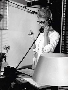 Brigitte Bardot in her office