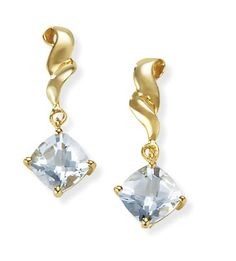 "Aquamarine Earrings: 14K Gold Aquamarine Drop Earrings  Fancy 1.8 ctw Aquamarine earrings set in 14kt gold. (E6627-QM) 198. Also available in Garnet or Citrine, please inquire. Approx 2.6 grams, 1.8 Carats Aquamarine Stones measure 6x6mm Post backs, for pierced ears only Earrings hang 7/8"" Available in other gemstones, please specify(Come on get your gift earrings!)  http://buyjewelryearrings.blogspot.com/"