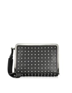 McQ Alexander McQueen Aira Black Leather and Studs Clutch at FORZIERI