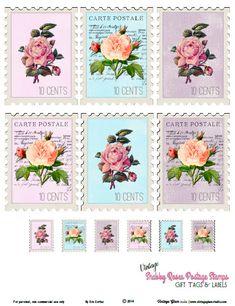 Free Printable Vintage Shabby Roses Postage Stamps from Vintage Glam Studio