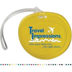 """3 3/4″ x 3 1/2″ x 3/16″ - This luggage tag features a write-on surface on the back side for easy identification. Includes a sturdy strap for fixing onto the handles or zipper pulls of baggage. Ideal for travel agencies, resorts, and transportation companies. Consider these luggage tags when promoting at conventions, trade shows, and seminars. Customizable with company name and logo. Available in 25 colors. Made in the USA.  Size: 3 3/4"""" x 3 1/2"""" x 3/16"""""""