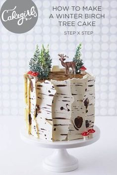 This Winter inspired Birch Tree Cake is a total show stopper and a cinch to make! Check out our step x step photo tutorial. This Winter inspired Birch Tree Cake is a total show stopper and a cinch to make! Check out our step x step photo tutorial. Holiday Cakes, Christmas Desserts, Christmas Treats, Christmas Baking, Christmas Cakes, Christmas Birthday Cake, Christmas Wedding, Birch Tree Cakes, Spice Cake Recipes