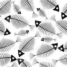 Fish Patterns, Textures Patterns, Print Patterns, Fish Skeleton, Motif Art Deco, Tatoo Art, Fish Print, Fish Design, Zentangle Patterns